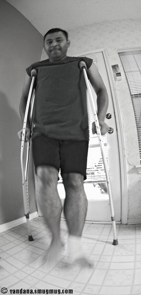 "November 2, 2007 - K on crutches  so after <a href=""http://vandana.smugmug.com/gallery/3576032/1/215244080/Large"">showing off his muscles</a> on October 30th, K tripped and fell in the middle of the road the very next day on Halloween. We spent the Halloween evening in the ER getting x-rays..no fractures, just a bad ankle sprain needing crutches for a few days.."