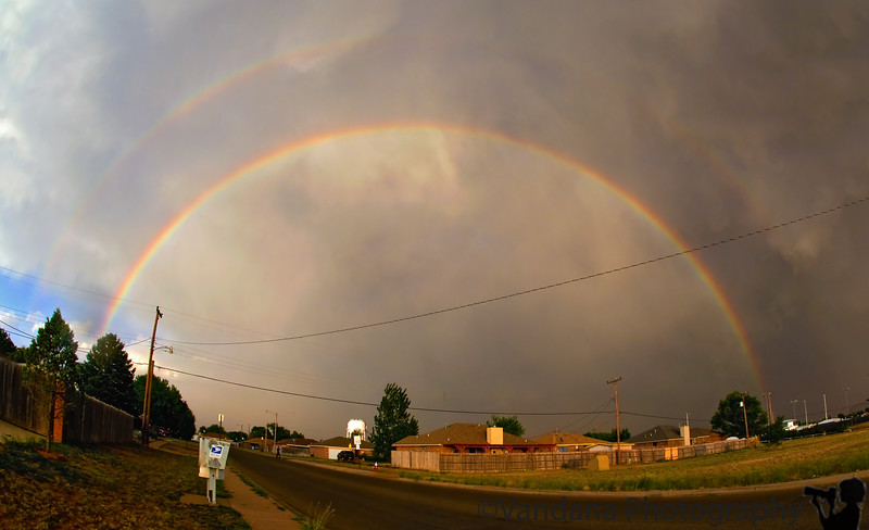 June 19, 2008 - Rainbow at my doorstep ! <br /> <br /> a faint double rainbow if you look closely.