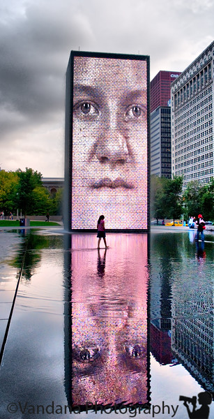 "September 28, 2009 - The crown fountain at Millenium Park, Chicago.  ""A fountain is the memory of nature, this marvelous sound of a little river in the mountains translated to the city."" the designer of Crown Fountain, Jaume Plensa."
