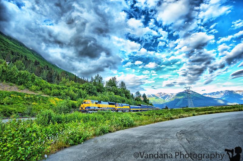July 21, 2010 - The alaska railroad train in Seward Highway