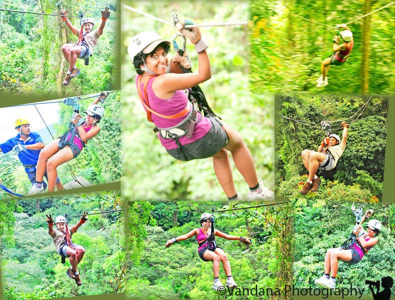 "December 24, 2010 - Zip-lining in Costa Rica.  WATCH MY VIDEO: <a href=""http://www.vandanaphotography.com/Travel/Costa-Rica/15192903_dxCcU#1136574615_f6GPH"">CLICK HERE !!!</a>  Checked out of Playa Espadilla hotel in Manuel Antonio @8am, heading to Herradura near the Jacos beach for a Zip-lining experience.  <a href=""http://www.canopyvistalossuenos.com/"">Vista Los Suenos Canopy Tour</a> in Herradura runs a zip-lining operation with 13 cables, the longest about 2400 feet. We were strapped into our harness, signed a waiver, then 16 of us started out in a blue tractor that drove up a mountain road to the beginning of the first cable. We were given preliminary instructions & we started off. V & K were in Group 1. So V was the team leader, group leader, and the first person to zip for the day!!!  Zip-lining is absolutely awesome! You are flying on top of the trees, much faster than birds & at a much higher elevation. You put the stronger hand behind you on the cable, hold on to the three safety cables with the weak hand, and let go. The pulley on the cable & the gravity does the rest. You arrive at a tremendous speed at the next platform, where the cables are taken off, & you then go around the tree to the next cable which leads you to the next platform & so on, on & on for 12 cables!  It takes about 2 hours, and leaves you wanting for lots more! If we had done this on Day 1, we would certainly have repeated this several times during our stay. However, this being our last day in CR, memories & videos will have to suffice.   Zip-lining was certainly our most favorite activity in CR & we look forward to doing it again.  Merry Christmas and Happy Holidays to all my friends !!"