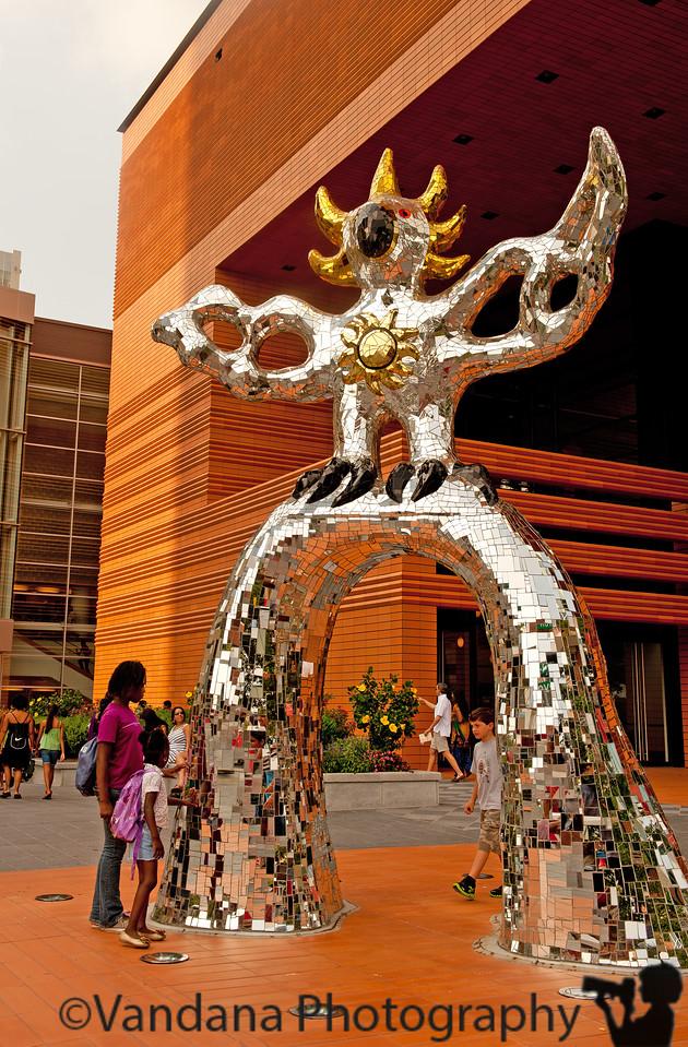 August 31, 2011 - 'the Firebird' - outdoor art by Niki de Saint Phalle at Bechtler Museum of Modern Art, Charlotte, NC - made of broken mirror pieces and colored glass