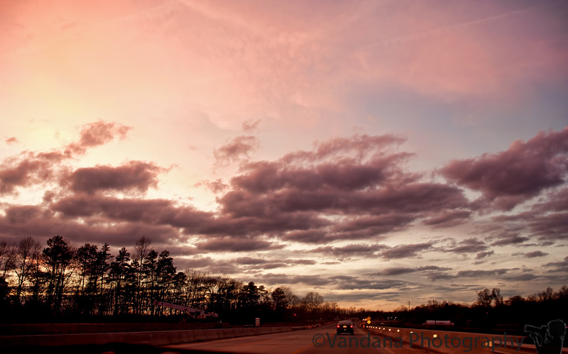 November 26, 2011 - a beautiful sunset, on the drive to High Point, NC. too late for the NC zoo which closes to 4pm, so off to see a movie !