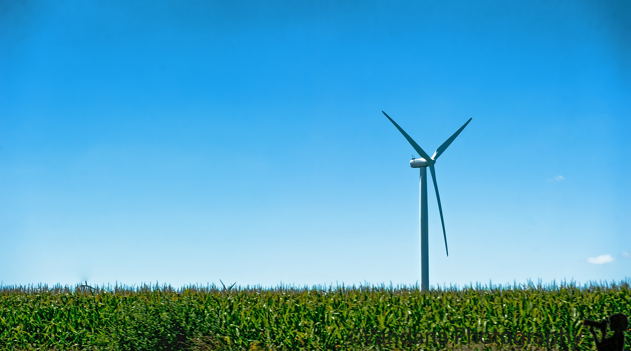 August 27, 2011 - the lone windmill in Indiana. Start our long drive to Charlotte, NC; 1st stop in Indiana
