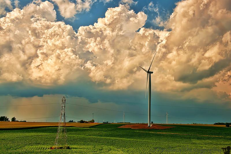 July 27, 2012 - A windfarm in Iowa - taken from Amtrak train window.