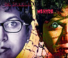February 4, 2012 - Dr.Jekyll and Ms.Hyde : my entry for dgrin/smugmug challenge ' Album cover self-portrait'<br /> <br /> edit: to answer Paul Sr., these are 5 photos/layers - 2 self-portraits, 50mm lens (eye), interiors of a hard drive( numbers/buttons over Ms.hyde), and a microwaved CD( bg).