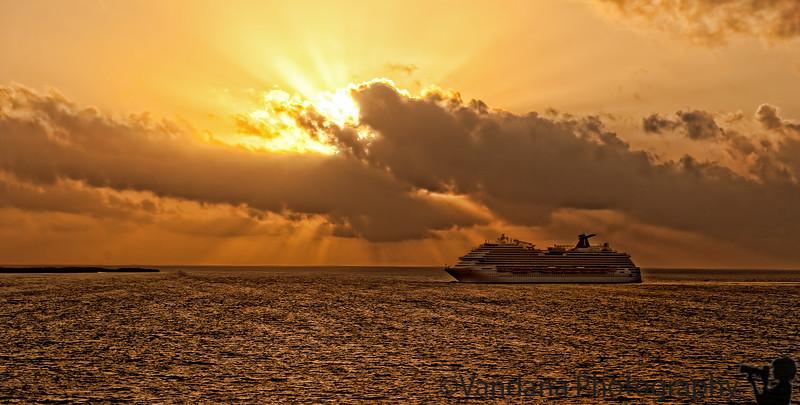 January 7, 2012 - Ship at sunrise<br /> <br /> taken on Caribbean cruise aboard MS Ryndam