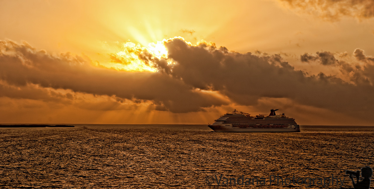 January 7, 2012 - Ship at sunrise<br /> <br /> taken on Caribbean cruise aboard MS Ryndam