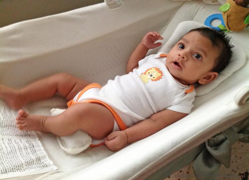 July 13, 2012 - Arjun in his bassinet - photo taken with ipad