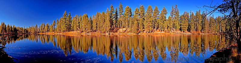 December 7, 2012 - Reflections at Lily pond/Manzanita lake, Lassen Volcanic National Park, CA<br /> <br /> a 4 image pano of Lily pond. best seen in the largest size. All roads in the park were closed beyond the lake due to snow.