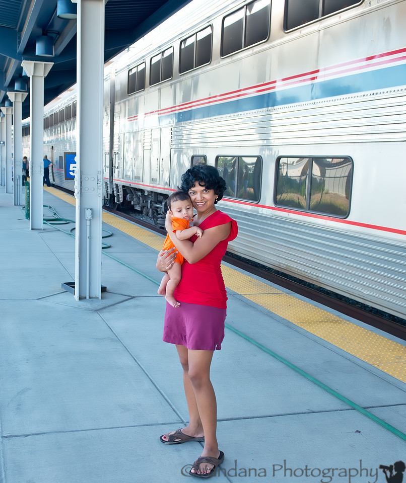 July 28, 2012 - V and Arjun at a Colorado Amtrak station