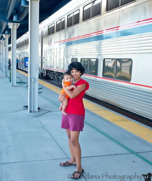 July 28, 2012 - V and Arjun at a Colorado Amtrak station