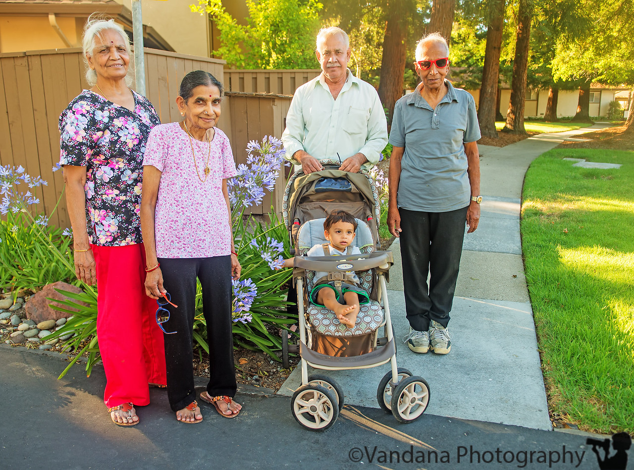 July 3, 2013 - Arjun and his grandparents<br /> <br /> Arjun starts on a 10-day course of antibiotics for bilateral ear infections, getting better..