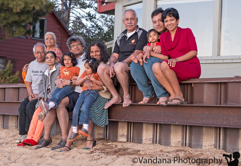 April 19, 2013 - The extended family at Lake Tahoe   From left to right : Dad, K's Mom, Mom, Swami with Laia, Anu with Rhea, K's Dad, K with Arjun, Vandana