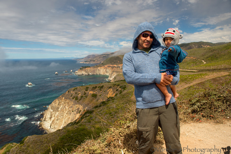 September 14, 2013 - Arjun with Dad at Big Sur, very windy and cold !