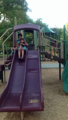 July 17, 2013 -  V and Arjun on the slide