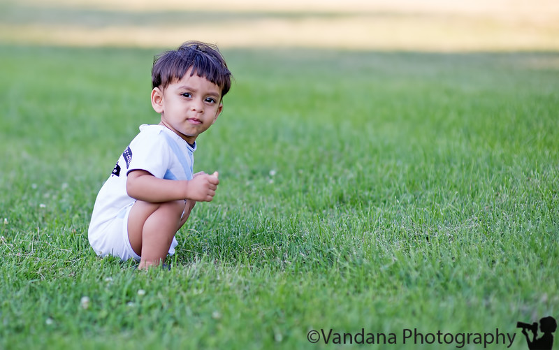 July 23, 2013 - Arjun at the park - picking tiny little flowers to give to his Mom !