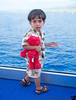May 8, 2014 - Sailing away from the islands :( <br /> <br /> Arjun and Elmo in our Suite balcony