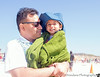 June 29, 2014 - With Dad at Half Moon Bay beach<br />  'too cold, too sunny, too windy' - always unprepared for the weather here !
