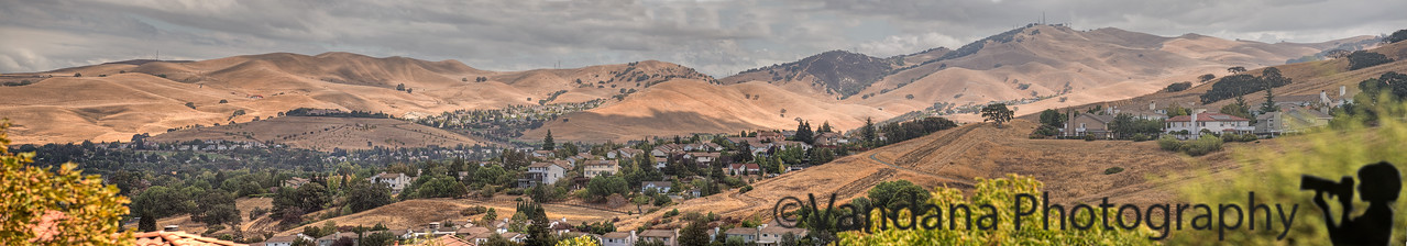September 23, 2014 - A 5 image panorama of Diablo hills, as seen from our front yard