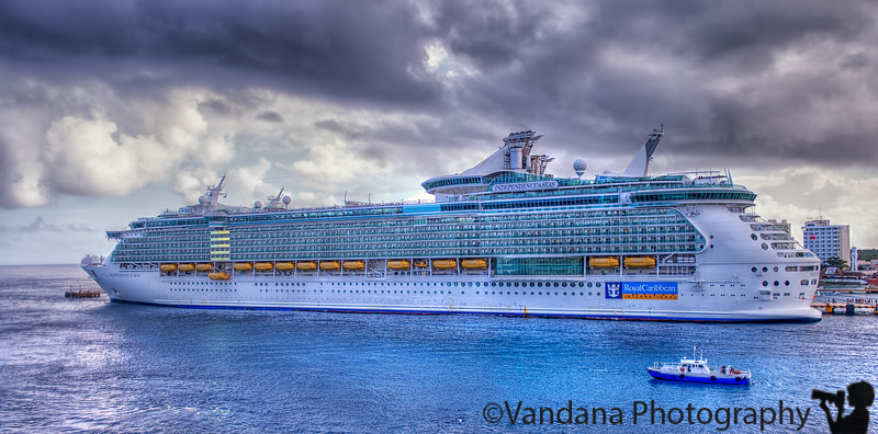 December 29, 2015 - the Royal Caribbean cruise ship across from our ship at Cozumel