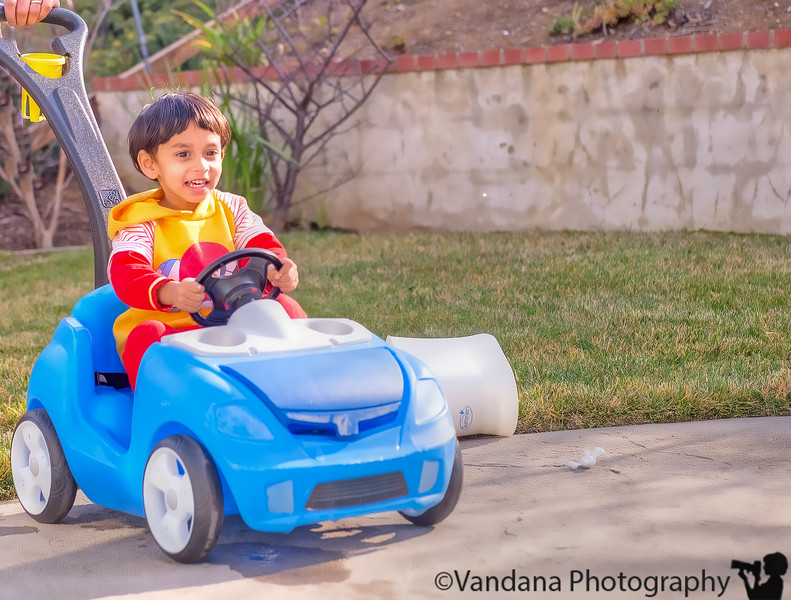 January 10, 2015 - Playing in his little car - <br /> <br /> a new speed game invented by Arjun and his Dad gives the little blue car a new life !