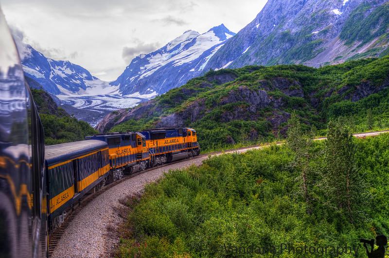 August 22, 2015 - Alaska railroad train passes a glacier