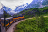 August 22, 2015 - Alaska railroad train passes a glacier