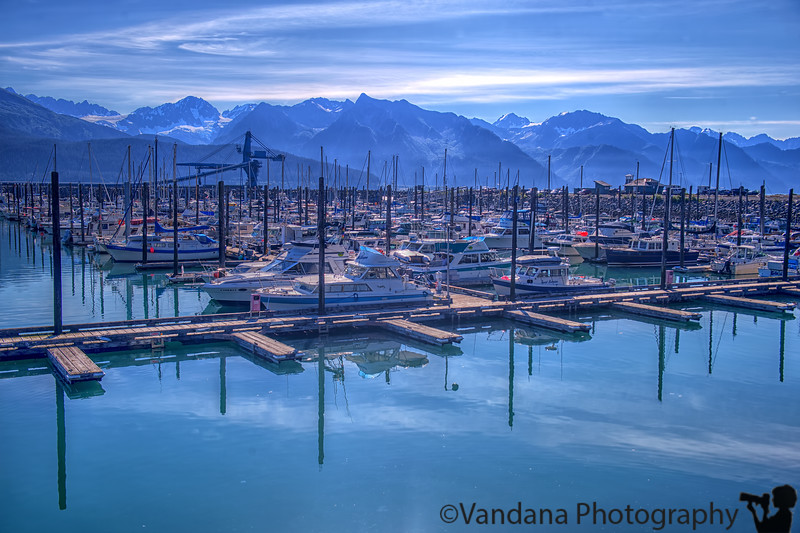 August 18, 2015 - Small boat harbor, Seward<br /> <br /> such calm seas in the early morning, but a cruise from Seward had me in the restroom most of the time motion-sick while K and Arjun enjoyed seeing some orcas, or so they say :) !