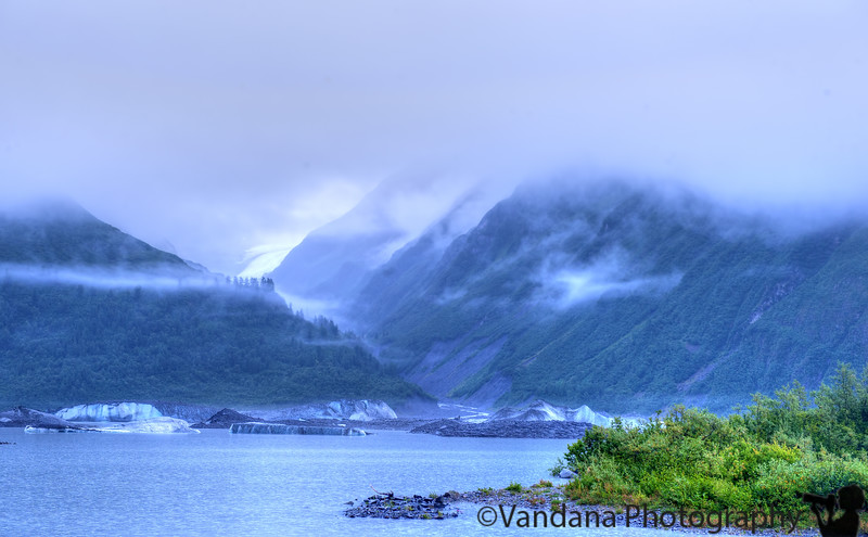 August 9, 2015 - Valdez glacier and lake on a foggy, rainy afternoon, Valdez, AK