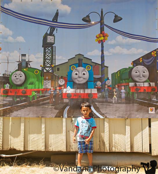 July 28, 2015 - Arjun happy with his Sodor friends