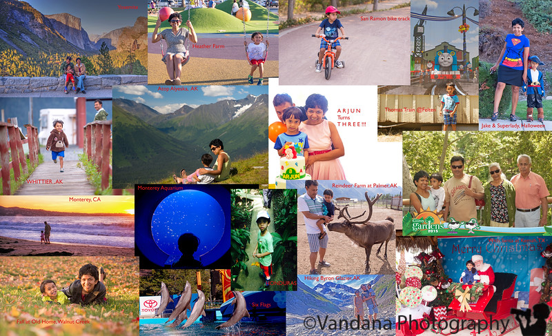 December 31, 2015 - A very busy three year old's whirlwind travel diary - Yosemite in March,  birthday party in April, Gilroy Gardens in May, Day Out with Thomas in July, Alaska in August, Monterey in September, Six flags @ Vallejo in October, Santa at Christmas, and Caribbean cruise in December !