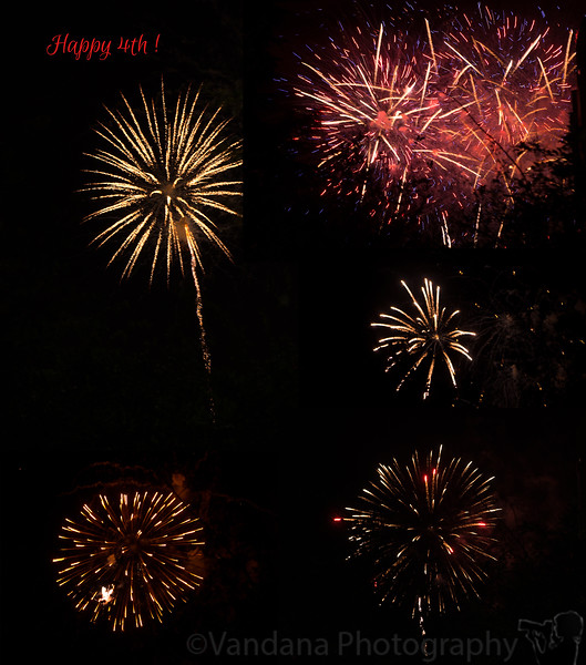 July 4 , 2015 - a collage of fireworks last night - Watching fireworks at a Concord Park ! 1st time for Arjun, who enjoyed it thoroughly and yelled 'happy birthday, America !' After the show, folks came and thanked Arjun for such a entertaining time.