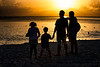 July 27, 2018 - Family silhouettes - Rhea, Arjun, Krishnan and my brother, Swami watching the sunset in Seven Mile Beach, Grand Cayman