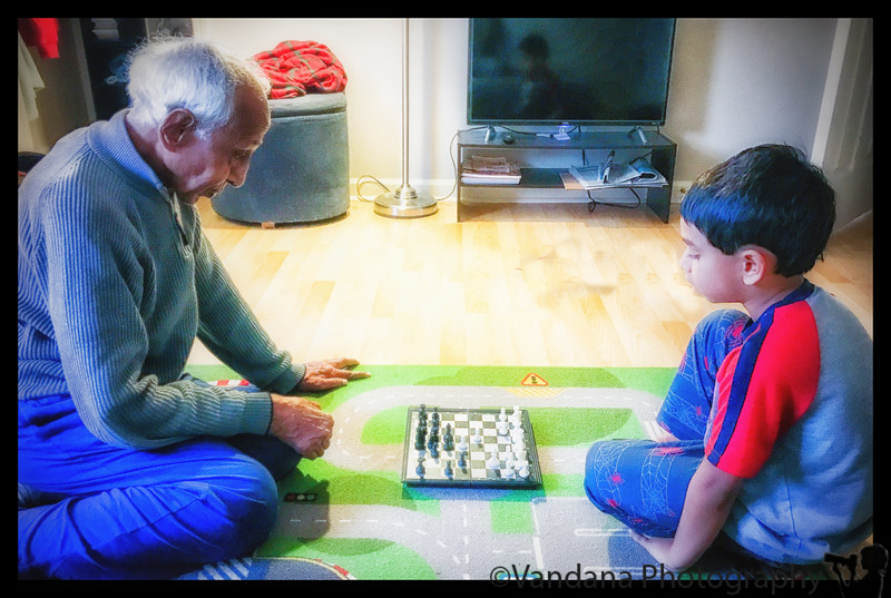 November 29, 2018 - Chess with grandpa <br /> pic from a few days back..it's become so difficult to defeat A nowadays !