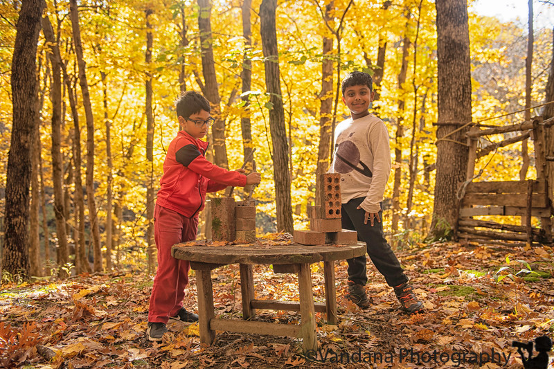 October 20, 2019 - Playing brick legos in the woods
