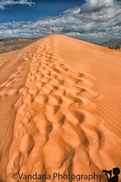 June 30, 2019 - the slippery, hard hike to the top of the biggest dune !