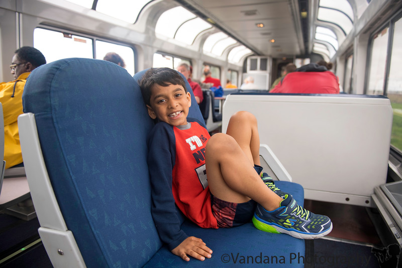 May 28, 2019 - Trip to Utah - train ride to Salt Lake City <br /> Unfortunately, due to heavy rains in the area and flooding in tracks, the train became almost 12 hours late ! <br /> Arjun enjoying the sights from the observation car. <br /> <br /> Late, late uploads of pictures taken during Utah summer trip.