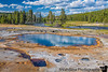 July 28, 2020 - More geysers, and hot springs at Biscuit Basin, Yellowstone.<br /> <br /> The hot srpings water drains into the Yellowstone lake on the other side, where we can walk around in shallow warm waters.