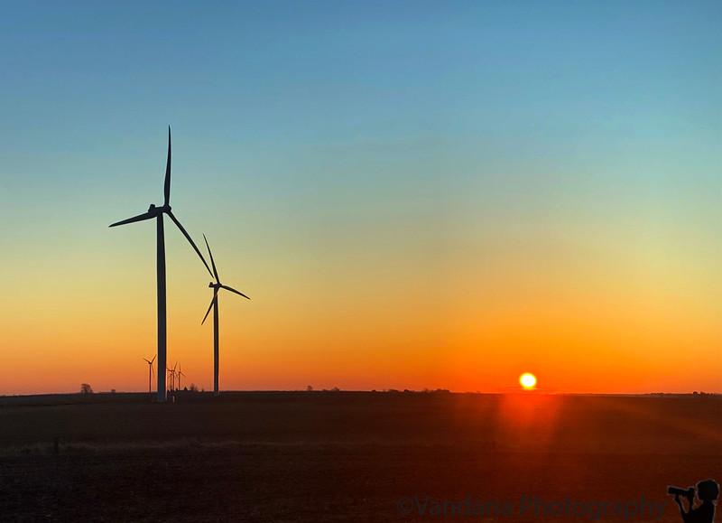 Feb 14, 2020 - Sunrise and the windmills