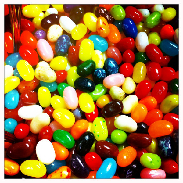 July 1, 2010: We found some jellybeans from a recent event and they're sitting in a huge margarita glass.