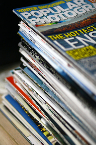 February 18, 2010: Here's a photo of all of my stacked up Pop Photo magazines.