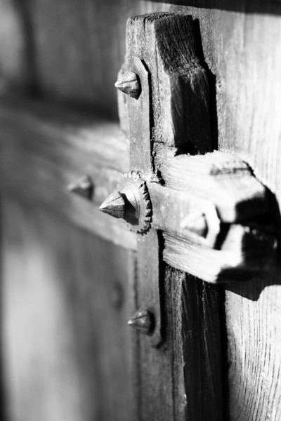 February 26, 2010: Here's a close-up of detail from a large wooden door.