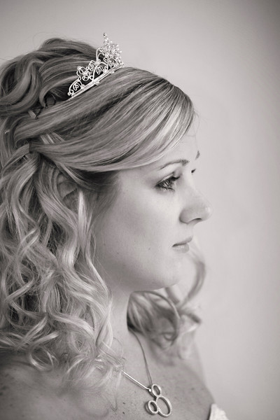October 27, 2010: Here's a photo of Adrienne before the ceremony. She was absolutely gorgeous to shoot in black and white! This shot was taken of her looking out of a window from the BoardWalk. She was only about a 100 feet from her soon-to-be husband's room and that's when she finally felt a few butterflies.