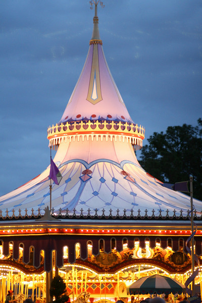 April 30, 2010: Here is a wider shot of Cinderella's Golden Carousel just after sunset. I have a few more Magic Kingdom photos than I thought, so I'll be extending this week's theme to next week too!