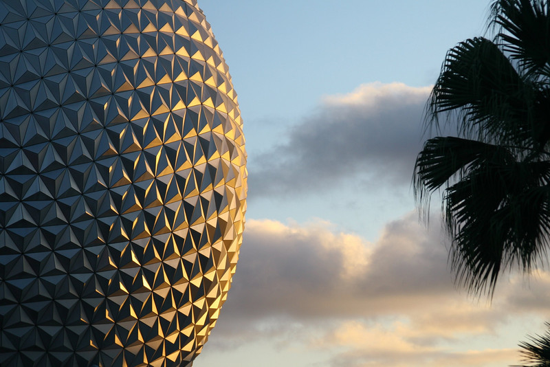 December 14, 2009: This week, I'll have a few Epcot photos that I took last weekend.  Today's photo is Spaceship Earth right as the sun was setting – I really like the colors on the side.