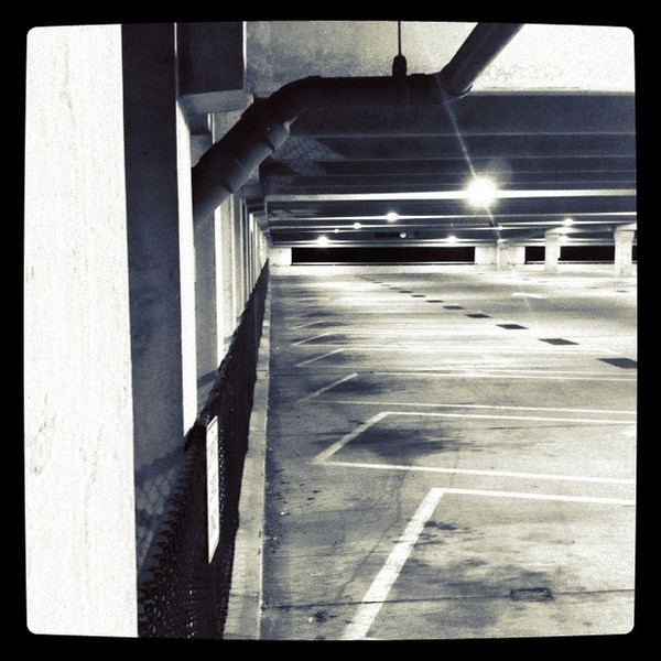 December 9, 2010: Last night, I worked at Studios and left at 2am. By the time I got to my car, there was hardly no one left in the parking garage. I took that opportunity and snapped a few photos with my iPhone. I love empty parking garages! This was taken with Instagram.