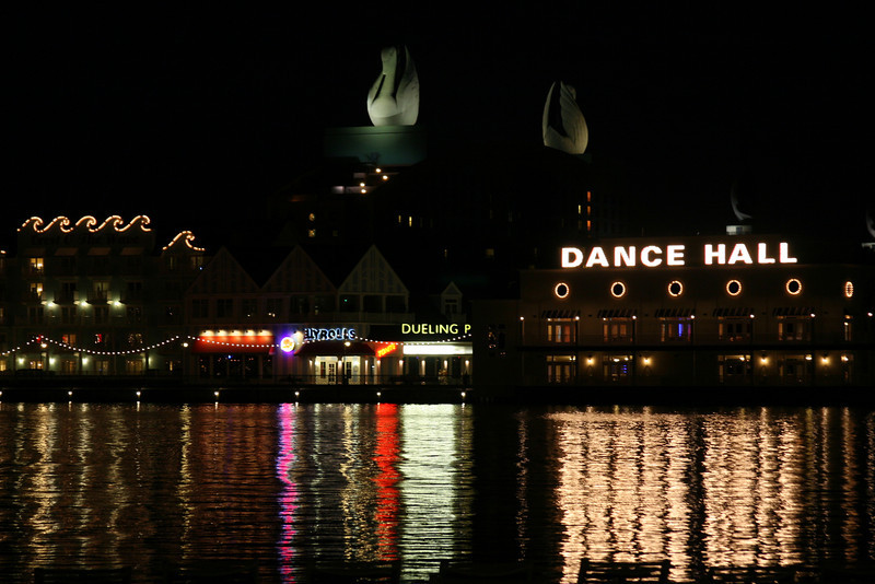 October 7, 2009:  Yesterday I had mentioned that I went to BoardWalk with a friend.  So today's photo is a night shot of BoardWalk (though you see the Dolphin in the background) from the Yacht & Beach Club side of the lake.