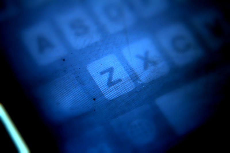 April 19, 2010: Today's Photo du Jour is brought to you by the letter Z! This is a close-up of the iPhone keyboard.