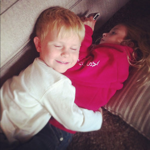 """10-07-12.  James snuggles up to Camille in her thick sweatshirt and says, """"you're so soft."""""""